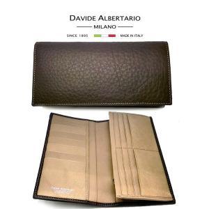 二つ折り長財布 本革 ブラウン ベージュ モカ レザー 財布 メンズ ダビデアルベルタリオ DAVIDE ALBERTARIO(t807-1) mt moro/t italybag