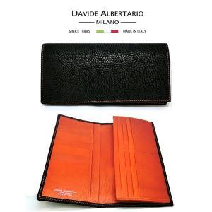 二つ折り長財布 本革 フラップ ブラック オレンジレザー 財布 メンズ ダビデアルベルタリオ DAVIDE ALBERTARIO(t807-1) 2041na italybag