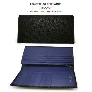 二つ折り長財布 本革 フラップ ブラックレザー 財布 メンズ ダビデアルベルタリオ DAVIDE ALBERTARIO(t807-1) 2041nb italybag