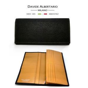 二つ折り長財布 本革 フラップ ブラックレザー 財布 メンズ ダビデアルベルタリオ DAVIDE ALBERTARIO(t807-1) 2041nec italybag