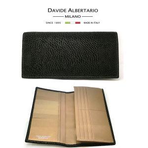 二つ折り長財布 本革 フラップ ブラックレザー 財布 メンズ ダビデアルベルタリオ DAVIDE ALBERTARIO(t807-1) 2041nt italybag