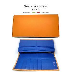 二つ折り長財布 本革 ブラウン×ブルー レザー 財布 メンズ ダビデアルベルタリオ DAVIDE ALBERTARIO(t807-1) vb vacchetio blue italybag