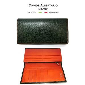 二つ折り長財布 本革 フラップ グリーン オレンジレザー 財布 メンズ ダビデアルベルタリオ DAVIDE ALBERTARIO(t807-1) 2041ve|italybag