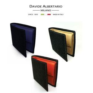財布 メンズ 本革 イタリア 二つ折り ブラック レザー 72033 短財布 ダビデアルベルタリオ DAVIDE ALBERTARIO(t906-1) italybag