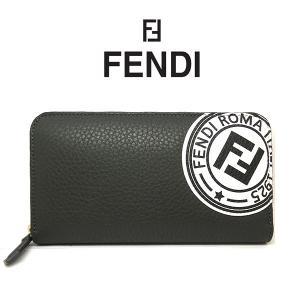 FENDI 長財布 フェンディ ラウンドファスナー ジップ 財布 レザー グレー メンズ 財布 紳士 7m0210 ブランド (t812-1) 8059974365624|italybag