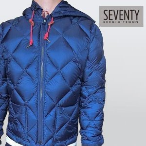 SEVENTY セブンティ メンズ ダウン ジャケット ブルゾン フード付き ブルー イタリア|italybag