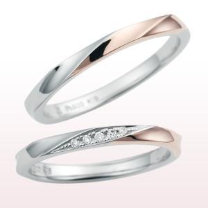 指輪 CITIZEN nocur シチズン ノクル プラチナ 18金 コンビ マリッジリング ダイヤ ペアリング (ND)cn-630(diamond)-cn-631(t909)|italybag