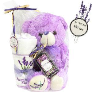 ラベンダー ベア ギフトセット(t907) ポプリ 匂い ドライフラワー 香り くま ぬいぐるみ ハンドタオル クマ プレゼント lavender|italybag