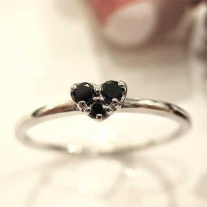 ブラックダイアモンド(4月誕生石) リング K10(10金) ホワイトゴールド WG ハート 指輪 md208016|italybag