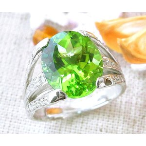 K18WG ホワイトゴールド  ペリドット ダイヤモンド リング r232|italybag