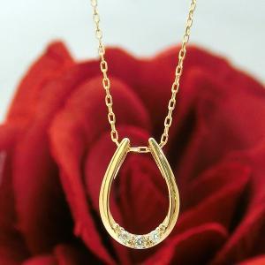 ダイヤモンド ネックレス ペンダント ホースシュー 馬蹄 ダイヤ 4月誕生石 K18PG 18金ピンクゴールド s013518853 (t911-3)|italybag
