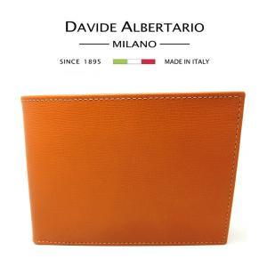 本革 イタリア 折りたたみ財布 二つ折り財布 キャメル ブラウン メンズ (t708-1) 1087camelmoro ダビデアルベルタリオ DAVIDE ALBERTARIO|italybag