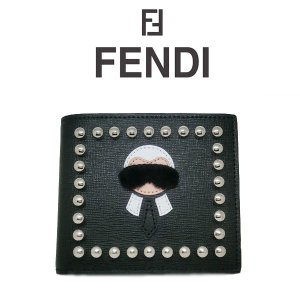 FENDI KARLITO(カーリト) 二つ折り財布 ブラック  フェンディ 財布 カーフスキン 7m016952pf057a (t707) 8058338353048|italybag
