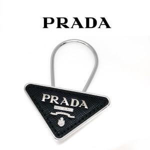 プラダ キーホルダー ロゴ キーリング PRADA  8055746706671 2PP301 nero 黒 三角プレート サフィアーノレザー (t905)|italybag