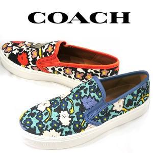 コーチ スリッポン 花柄 靴 COACH フラワー レッド ブルー シューズ レディース (t708-2) a01994chalkcoral a01986aqb italybag