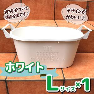 人気の植木鉢 かわいくて運搬楽々 取っ手付プランター Lサイズ ホワイト 1個 野菜 花 果樹 ハーブの鉢として人気 送料無料 itanse