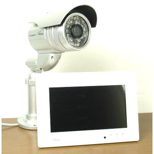 コロナ電業/屋外用防犯カメラとモニター付SDカードレコーダーのお得なセット TR-858WCP+DVF-7 itax