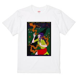 うらなか書房のシュールなTシャツ「目玉も生える 三日月の夜」(Tシャツ・ホワイト)