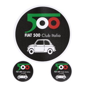 80mm(直径)×1/31mm(直径)×2の3枚セット  FIAT 500 CLUBステッカー3枚セ...