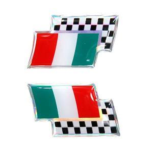 イタリア国旗&チェッカードフラッグ3Dステッカー(2枚組)|itazatsu