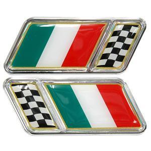 クロームフレーム付イタリア国旗3Dエンブレムステッカー|itazatsu