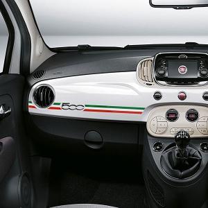 フィアット/アバルト 500/595/695ダッシュボードストライプステッカー(右ハンドル/トリコロール)|itazatsu