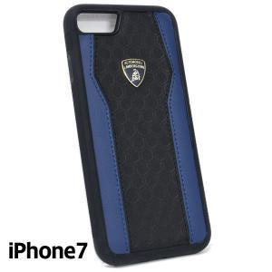 ランボルギーニ純正 iPhone7背面レザーケース (ブラック/ブルー)|itazatsu
