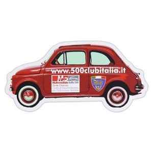 125mm(幅)×62mm(縦)  FIAT500 CLUB ITALIAのクルマ型のステッカーです...