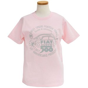 フィアット 500 60周年メモリアルスタンプTシャツ(ピンク)|itazatsu