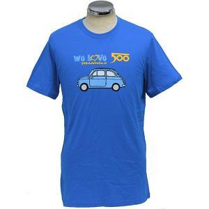フィアット FIAT 500 CLUB ITALIA We Love 500Tシャツ(ブルー)|itazatsu