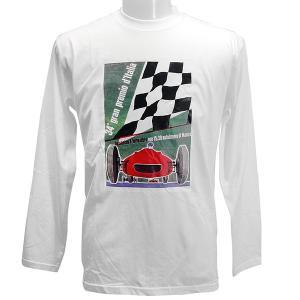 第34回Grand Premio di'Italia ポスタープリントロングスリーブTシャツ ホワイト|itazatsu
