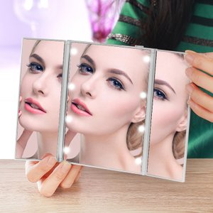 女優鏡 女優ミラー 三面鏡 アクトレスミラー お出かけ用 KW012 スタンド 自立 鏡 化粧 メイク メイクアップ コンパクト LEDライト ネコポス|item-japan