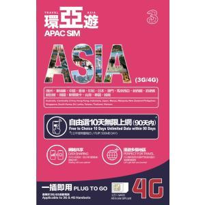 【3】アジア16ヵ国90日の期間フリープラン10日間 4G/3G データ通信 1GB/日 (FUP1...