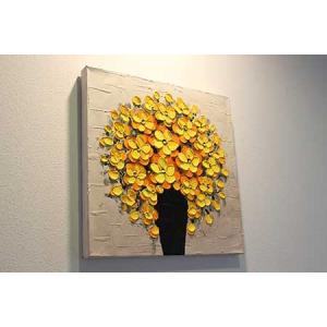 風水にいい絵画「花瓶の花々」黄色/ゴールド 40?角