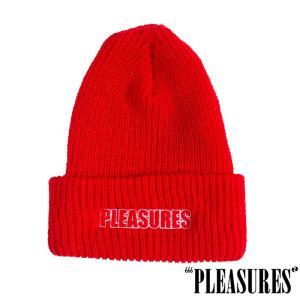【PLEASURES/プレジャーズ】FEEL MY FACE BEANIE ニット帽 / RED
