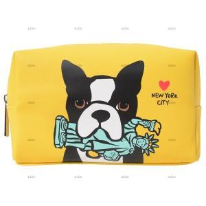 【Marc Tetro】 マークテトロ  ラージコスメバッグ  Boston Terrier with 自由の女神 ボストンテリア|itempost