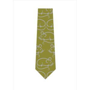 ねずみ柄ネクタイ(うぐいす色)