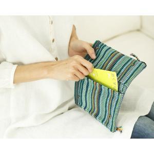 手織布のダブルファスナーポーチ|itempost