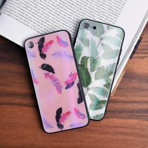 5cf2f69e69 [スマホケース/iPhoneケース]【Summer Leaf Glass iPhone Case】リーフ・フェザー・葉っぱ・羽・羽根 ・グリーン・ピンク・背面ガラス・強化ガラス・iphone6・iPh