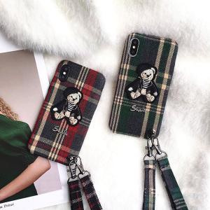 [スマホケース/iPhoneケース]【Glam PhoneCase Grid Fabric Cartoon Bear】テディベア・ベアー・クマ・ワッペン・ブリティッシュ・タータンチェック・iphone6・i|itempost