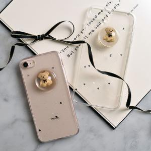 [スマホケース/iPhoneケース]【Lovely Bear Liquid Ball Phone Case】ベアー・クマ・テディベア・立体・3D・リキッドボール・クリア・キラキラ・ラメ・iphone6・|itempost