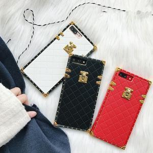 [スマホケース/iPhoneケース]【Vintage lambskin soft leather】トランク 鍵 キルティング・ダイヤモンド・ステッチ・マット・レザー調・スクエア・iPhone66s Pl|itempost