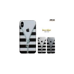 iPhoneXS iPhoneX iPhone8 iPhone7 iPhone6s iPhone6 クリア ケース 黒&透明 ボーダー チャック ファスナー 人気 スケルトン|itempost