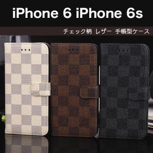 iPhone6 iPhone6s iPhone6 Plus iPhone6s Plusケース モノトーン チェック柄 格子柄 市松模様 レザーケース 手帳型ケース スマホケース カバー ストラップ付き|itempost
