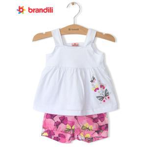 aa53fb67dd437  BRANDILI 女の子ベビードレス&ショートパンツセット かわいい・上下セット ちょうちょ|ホワイト×ピンク