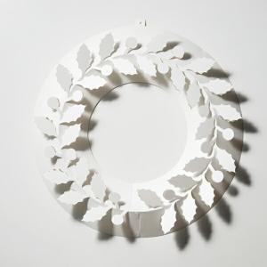 ひいらぎ S ペーパー リース 柊 伊藤千織 デザイン メール便 対応 日本製 耐水紙 ホワイト PW01-S-205 おしゃれ 飾り インテリアの画像