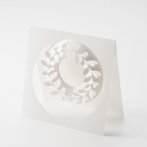 ひいらぎ SS ペーパー リース 柊 伊藤千織 デザイン メール便対応 日本製 PW01-22 シンプル ホワイト おしゃれ インテリア オーナメントの画像