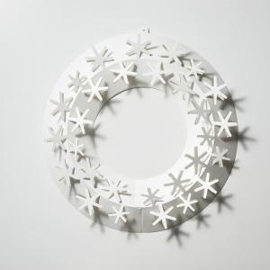 リース おしゃれ 玄関 インテリア リビング 雪 S ペーパーリース スノー シンプル ホワイト メール便 対応 Paper Wreath PW04-S-205 白 オーナメント 飾りの画像
