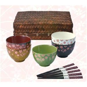〔和皿・洋皿〕 花しらべ 籠入茶漬碗揃(桜箸付)|itibei