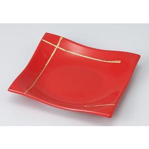 [向付特選] 一珍赤釉金線 正角前菜皿|itibei